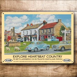 Explore Heartbeat Country Old Rail Ad metal sign  200mm x 150mm (og)
